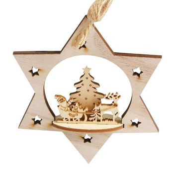 Snowflake Wood Embellishments Rustic Christmas Tree Hanging Ornament