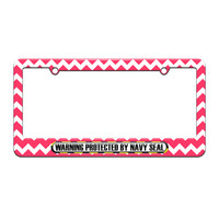 Protected By Navy Seal - License Plate Tag Frame - Pink Chevrons Design