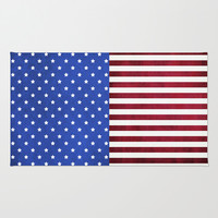 Stars And Stripes-American Flag On Fabric Texture Area & Throw Rug by Inspired By Fashion