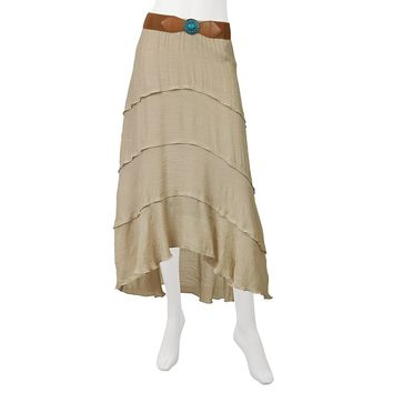 IZ Byer California Tiered Juniors' Gauze Skirt, Size: