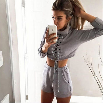 Grey Turtle Neck Lace Up Tie Crop Top with Short