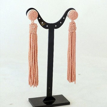 Beaded long tassel earrings -clip on earrings in pale pink- statement seed beads earrings- dangle earrings -bridesmaid earrings