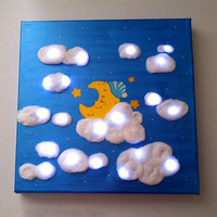 Nursery Art Night Light LED Lighting Sleeping Moon Clouds and Stars Light Up Canvas Night Light Kids Childrens Gifts