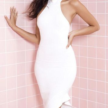 Otello White Halter Dress