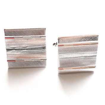 Vintage Silver Tone Square Cuff Links Textured Design Signed Dante Wedding Groom Groomsmen Father Gift Formal