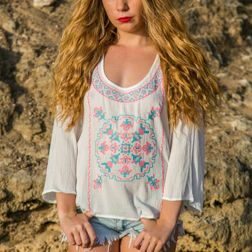 Embroidered Top - Ivory