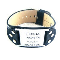 Hand Stamped Leather Bracelet - Personalized Leather Bracelet - Mens leather bracelet