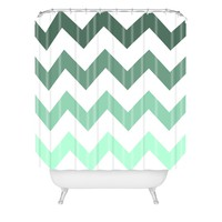 Shannon Clark Mint Chevron Stripes Shower Curtain
