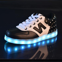 USB charging fluorescent LED colorful shoes