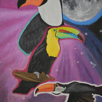 Large Acrylic Painting Toucans in Space
