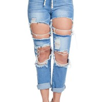 Women's Destroyed Boyfriend Denim Joggers RJJ840 - CC9B