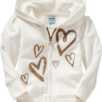 Glitter-Graphic Zip-Front Hoodies for Baby