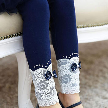 New 2016 girls autumn winter pants kids Lace bow slim trousers children elastic waist leggings 2-8years baby girls lace leggings