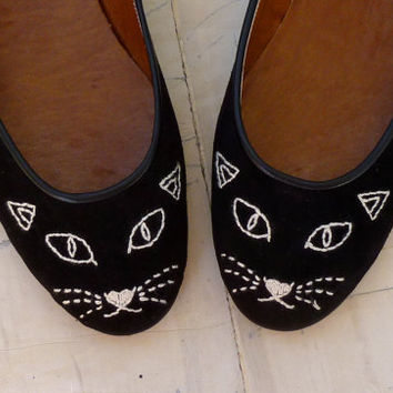 Cat Face Shoes by BlueDrop on Etsy