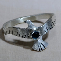Sterling Silver Bird Ring with Swiss Blue Topaz