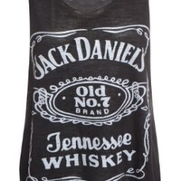 Womens Ladies Racer Back Jack Daniels Logo Print Contrast Stretch Vest Top: Amazon.co.uk: Clothing