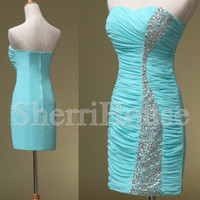 Beads Ruffled Sweetheart Strapless Short Sheath Bridesmaid Celebrity Cocktail Dress , Chiffon Evening Party Prom New Homecoming Dress