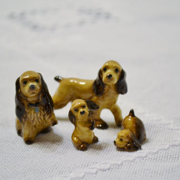 Vintage Miniature Dog Family Set Spaniel Figurine Statue Hagen Renaker Collectible PanchosPorch