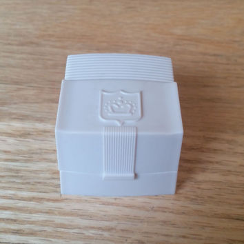 Celluloid Ring Box, Trinket Box, White Plastic, Made in USA, Vintage Ring Box, Vintage Jewelry, Art Deco Style, Crown Emblem