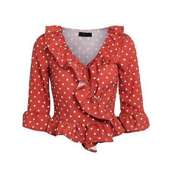 Dotted Ruffle Blouse Vintage Style Long Sleeve Summer Cotton Blouse