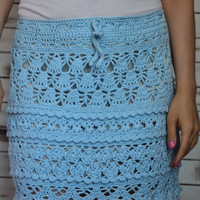 Crochet skirt, blue summer skirt, Lace skirt, short skirt, boho crochet, beach coverup, mini skirt, summer festival boho skirt, summer jupes