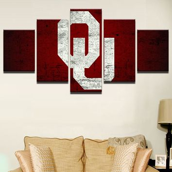 Oklahoma Sooners College Football 5 Piece Panel Wall Art Framed UNframed