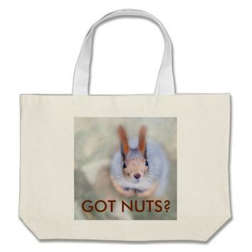 Squirrel looks at you from the bottom up large tote bag
