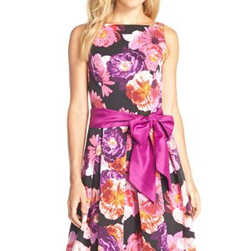 Women's Eliza J Floral Print Faille Fit & Flare Dress,