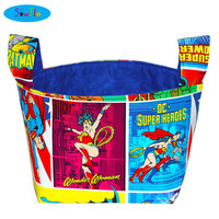 NEW! Fabric Storage Bin-DC Comics Storage Bin-Justice League Room Organizer-Desk Organizer-Fabric Basket-Wonder Woman Bin