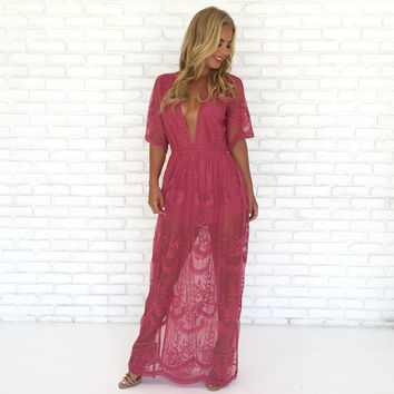 Wine & Dine Embroidered Maxi Dress in Popping Pink