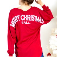 Merry Christmas, Y'all - Light Weight, Long Sleeve, V-Neck, Holiday Spirit Jersey®