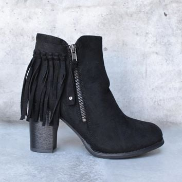 city chic fringe vegan suede ankle boot - black