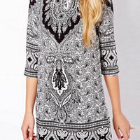 Multicolor Tribal Print Shift Dress