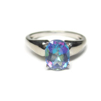 Oval Mystic Topaz Solitaire Engagement Ring Sz 8 Sterling