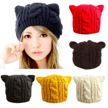 KNITTED WOOL CAT EARS BEANIE CAP