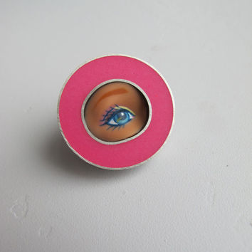 Barbie Doll Eye Pin with Bubblegum Pink Resin