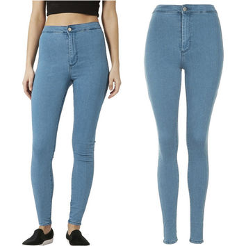 Fashion Women High Waist Skinny Slim Denim Jeans Trouser Long Pencil Pant Stretchy