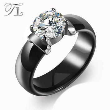 TL New Arrival Ceramic Rings For Women Huge Zircon Cabochon Setting Black&White Ceramic Wedding Rings Cute Simple Unique Design