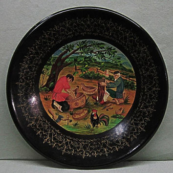 Russian Folk Art Hand Painted Plate Wood Carvers Lacquerware