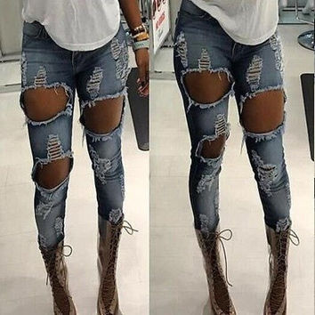 NEW WOMEN CLOTHES SUMMER HOLE MACHINE ZIPPER JEANS RIPPED DESTROYED DISTRESSED FITTED LOW RISE SKINNY LONG PANTS