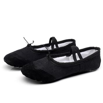 Canvas Ballet Flats Soft Balleria Dance Shoes for Women Split Cow Leather Outsoles Latin Yoga Dance Female Shoes Girls W $