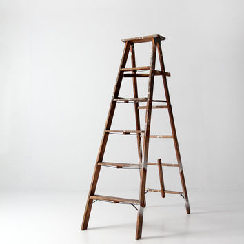 vintage painter's ladder / wood ladder