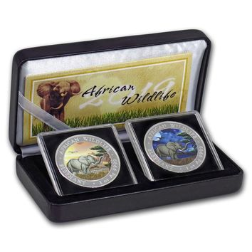 2019 Somalia 2-Coin 1 oz Silver Elephant Set Day/Night (Colored)