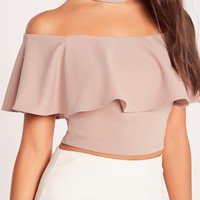 Missguided - Choker Neck Frill Bardot Crop Top Nude
