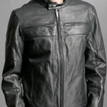 Male Gray Biker Style Classic Straight Leather Jacket