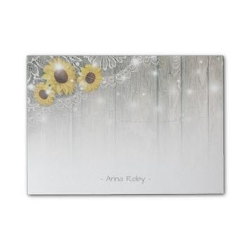Rustic Wood Vintage Sunflowers and Elegant Lace Post-it Notes