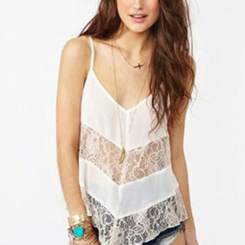 SIMPLE - Chiffon Loose Strap Laced Sexy Summer Top a10557