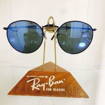 50MM VINTAGE B&L RAY BAN W2469 YPAS BLUE MIRROR BLACK/TORTOISE ROUND SUNGLASSES