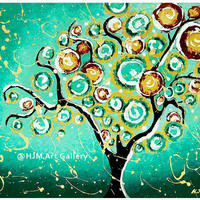 Whimsical Turquoise Tree Of Life Ar.. on Luulla