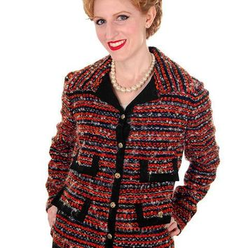 Vintage Ladies Blazer Jacket Orange/Grey Mohair Tweed Davidow 1970s